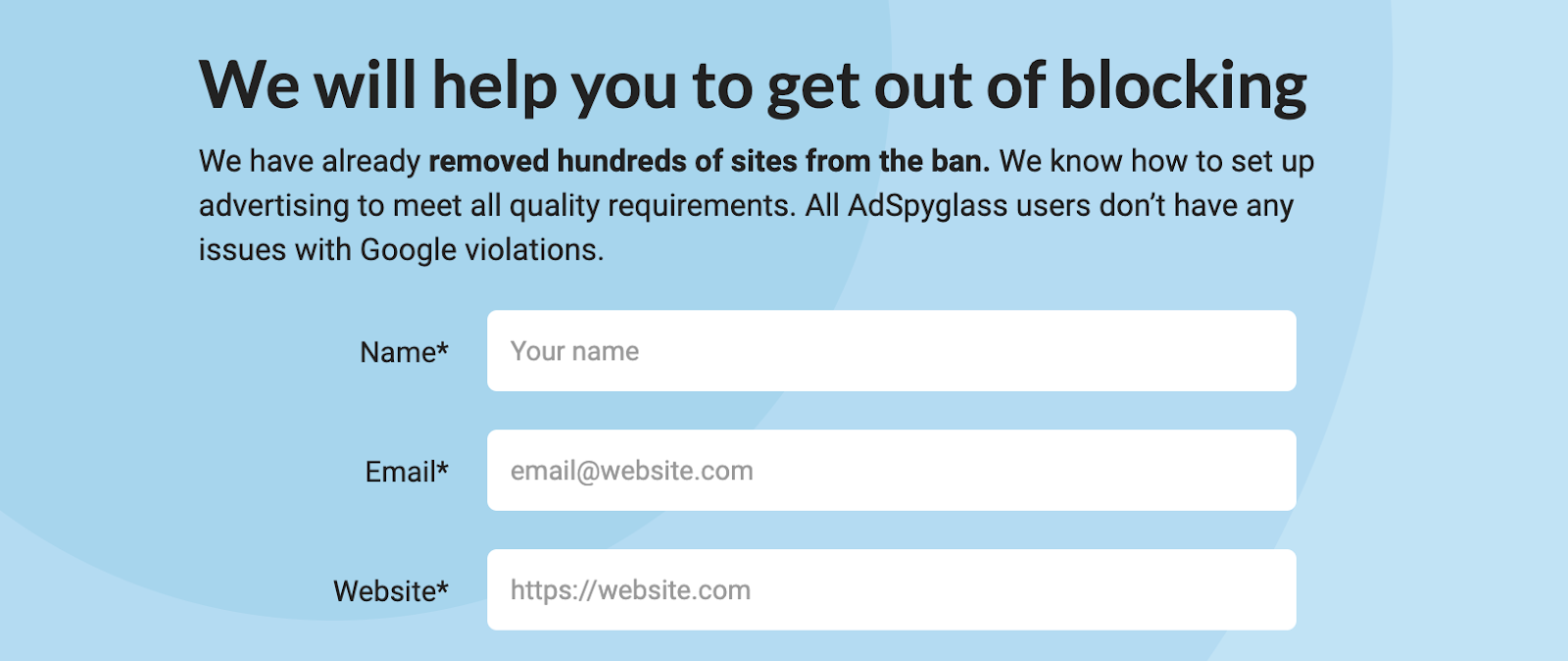 For the record, we're at AdSpyglass have already helped resolve hundreds of different ban-related cases. We know not only how to unban you, but also how to protect you from getting there in the future.